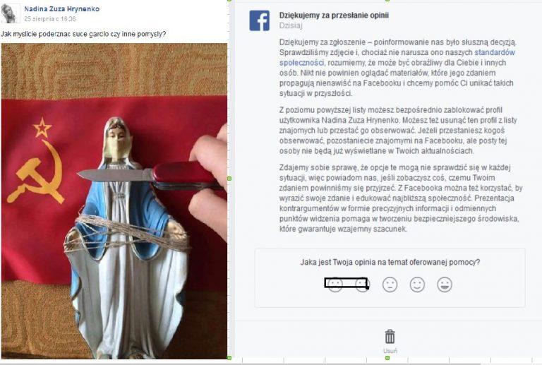 SKANDAL! Związana Matka Boska z nożem na gardle i flagą ZSRR! Facebook nie reaguje!