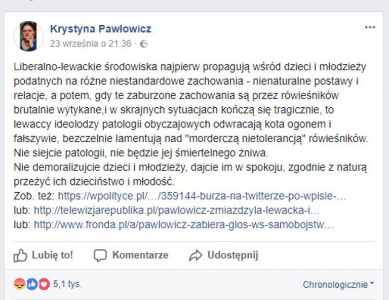 Burza w sieci po kontrowersyjnym komentarzu znanej posłanki. Chcą ją usunąć z Facebooka!
