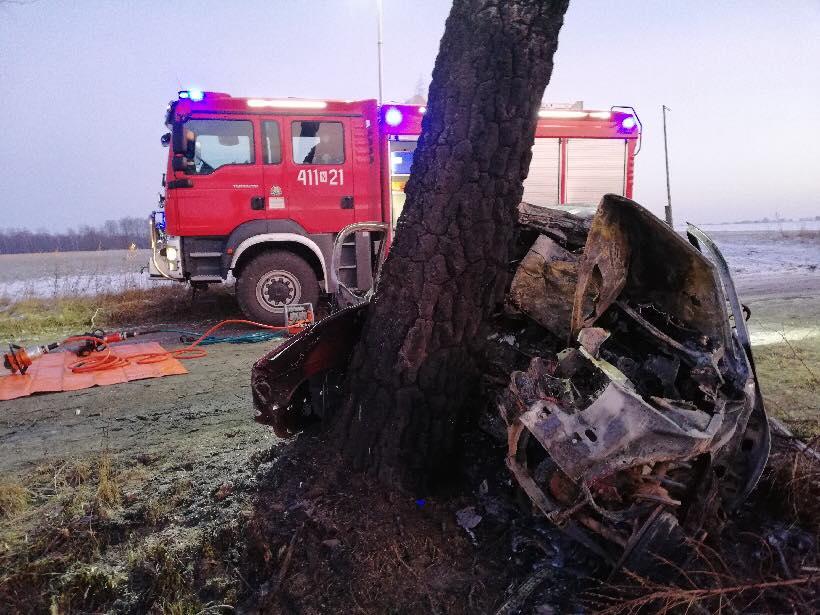 wypadek pod Braniewem, policja, straż, wypadek,