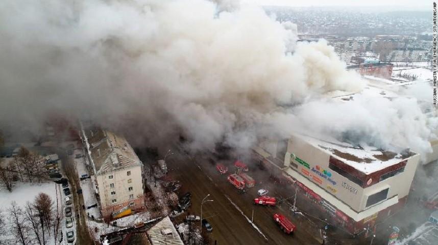 putin, kemerowie, pożar, centrum hadlowe, kemerowo, rosja
