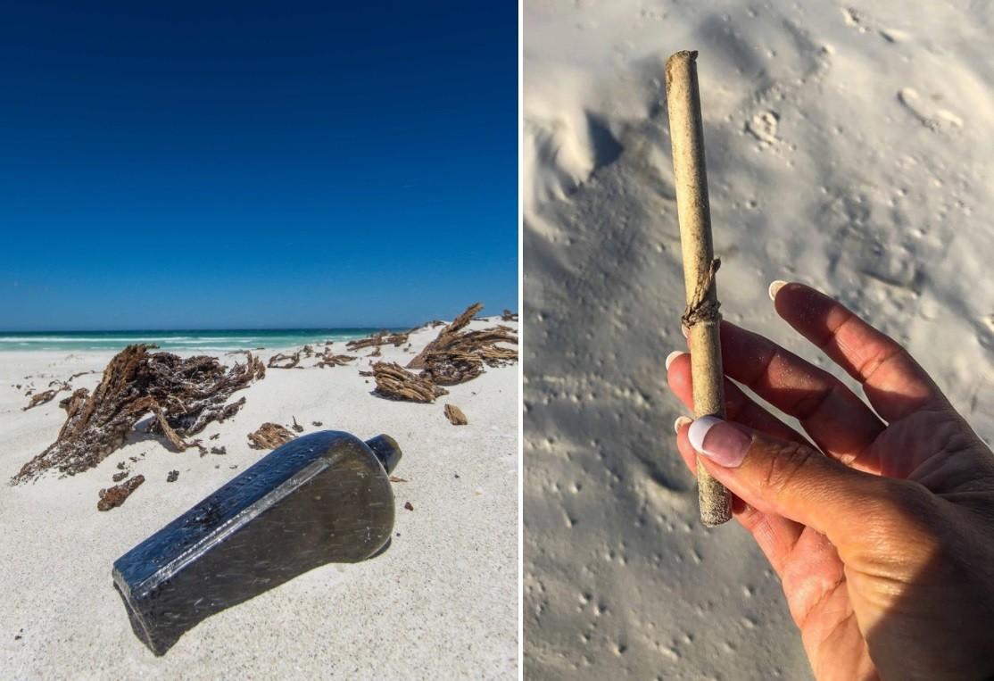 list w butelce, plaża, list, butelka