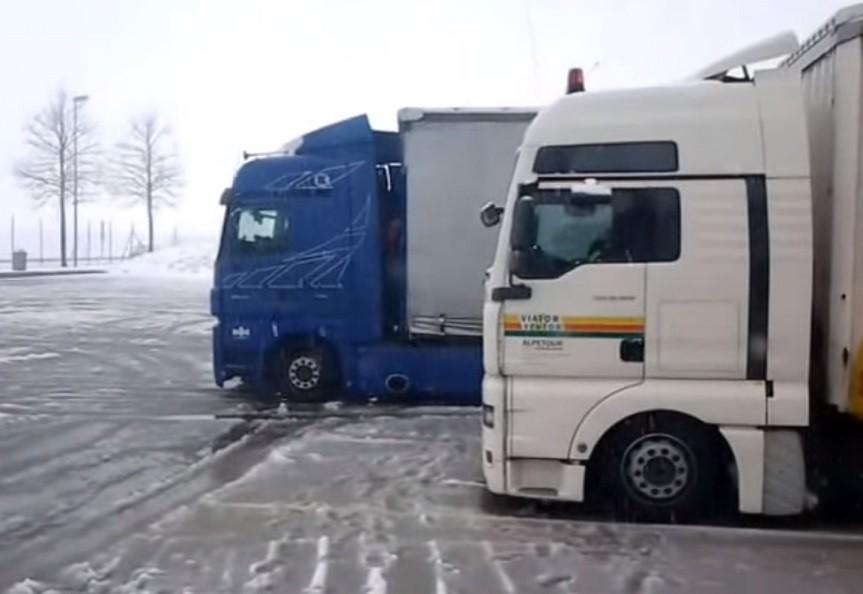 danii, tir, parking, ciężarówka, ciężarówce,