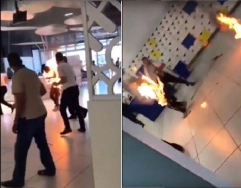 [VIDEO] Przez popularny gadżet spłonął żywcem w centrum handlowym. Nikt nie mógł mu pomóc