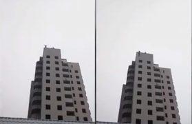 spadochron, wieżowiec