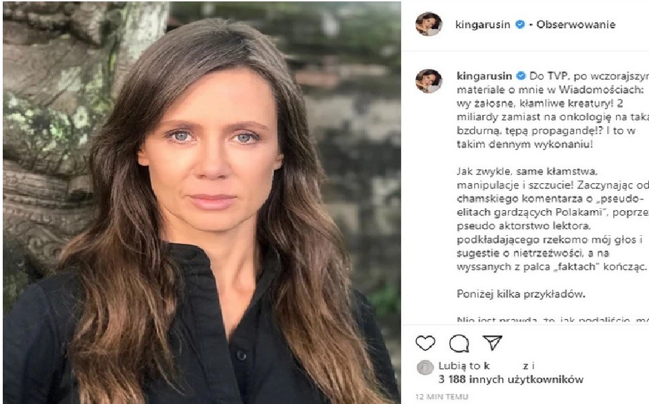 Kinga Rusin odpowiada TVP